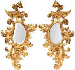 Pair of Mid-19th Century French Louis XV Carved Gilt Rococo Mirrors with Wings