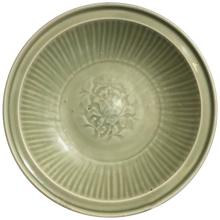 Chinese Ming Dynasty Longquan Celadon Peony Deep Dish, 14th-15th Century