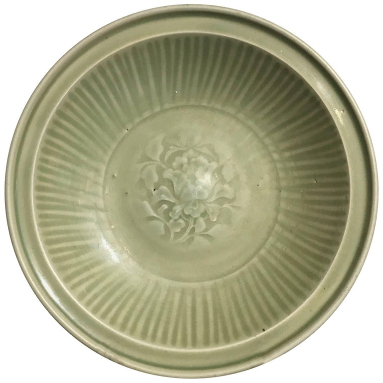 Chinese Ming Dynasty Longquan Celadon Peony Deep Dish, 14th-15th Century For Sale