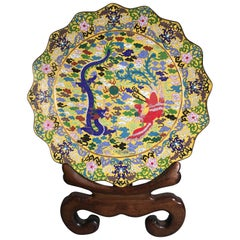 Large Chinese Yellow Cloisonné Charger, Republic Period, circa 1930s