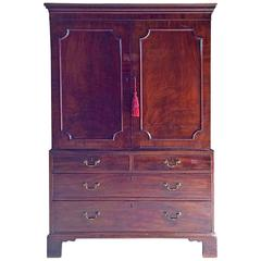 Antique Victorian Mahogany Dwarf Linen Press, 19th Century