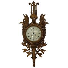 19th Century Empire Bronze Wall Clock Signed by Leroy