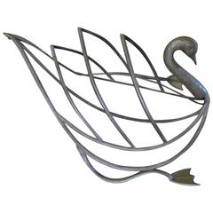 Whimsical Maison Jansen Italian Magazine Rack Brass Mid-Century Modern