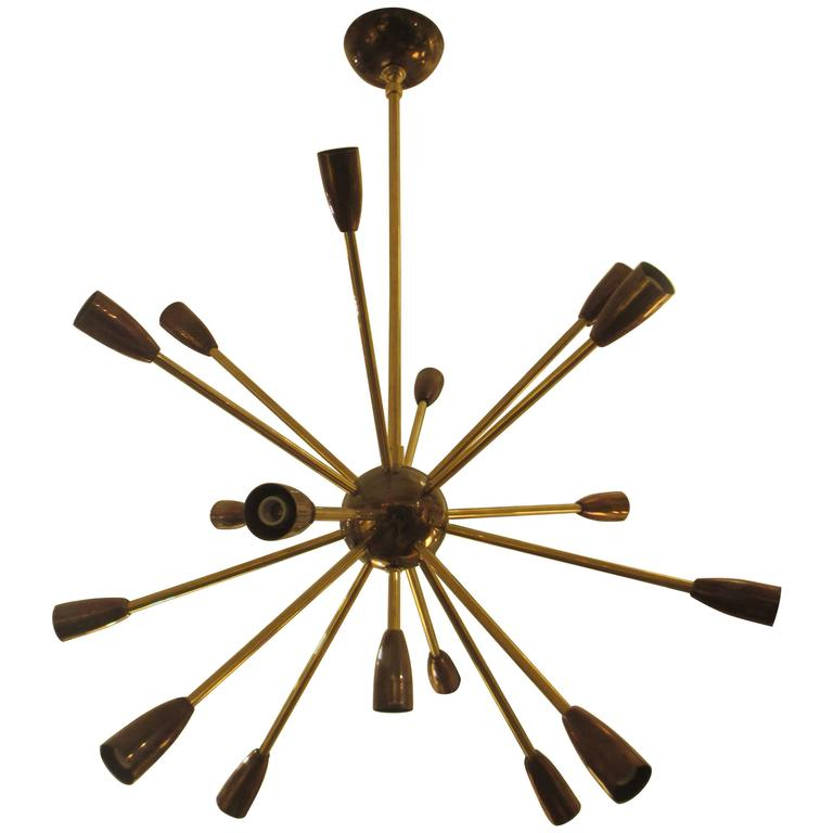 Custom Brass and Copper Sputnik Chandelier with 14 Arms For Sale