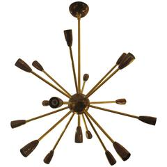 Custom Brass and Copper Sputnik Chandelier with 14 Arms