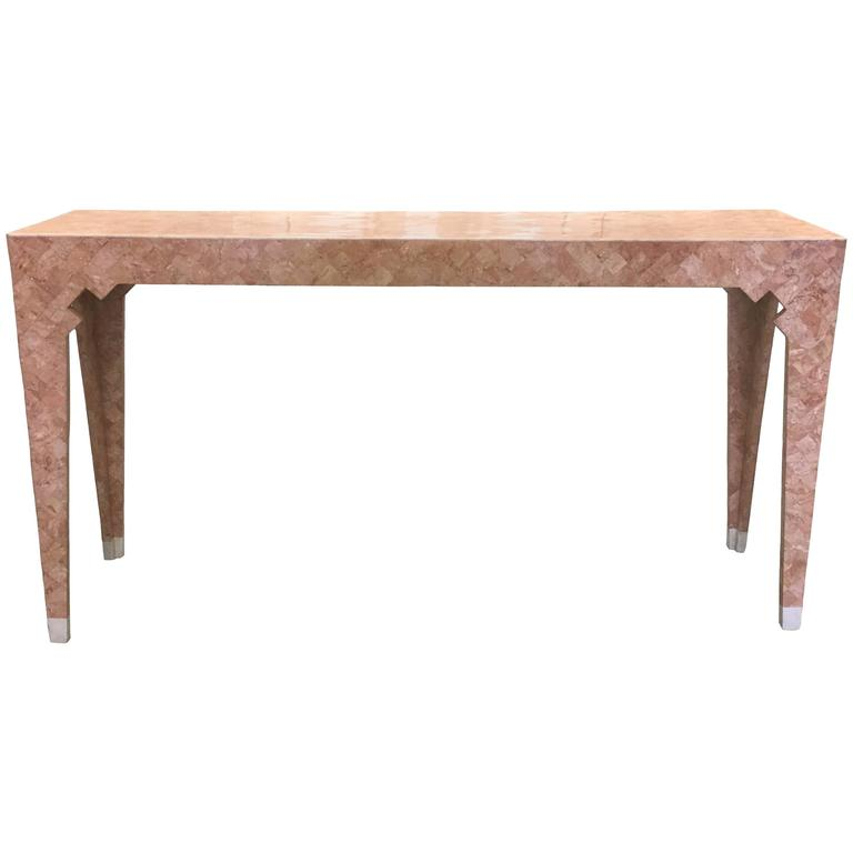 Maitland Smith Pink Tessellated Stone Console Table