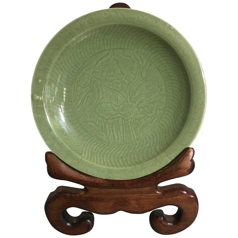 Chinese Celadon Glazed Lotus Charger, Qing Dynasty, 18th Century