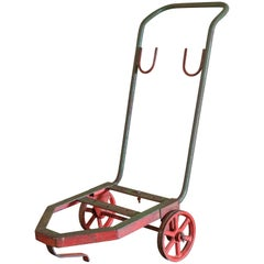 Antique Red and Green Iron Industrial Hand Truck from Belgium, circa 1900