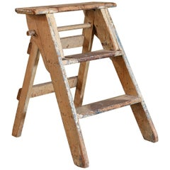 Painted Wood Folding Step Ladder from Belgium, circa 1920