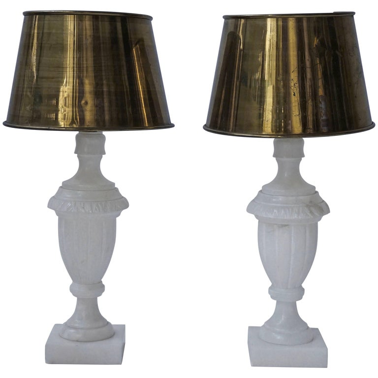 Pair of Alabaster and Copper Table Lamps For Sale