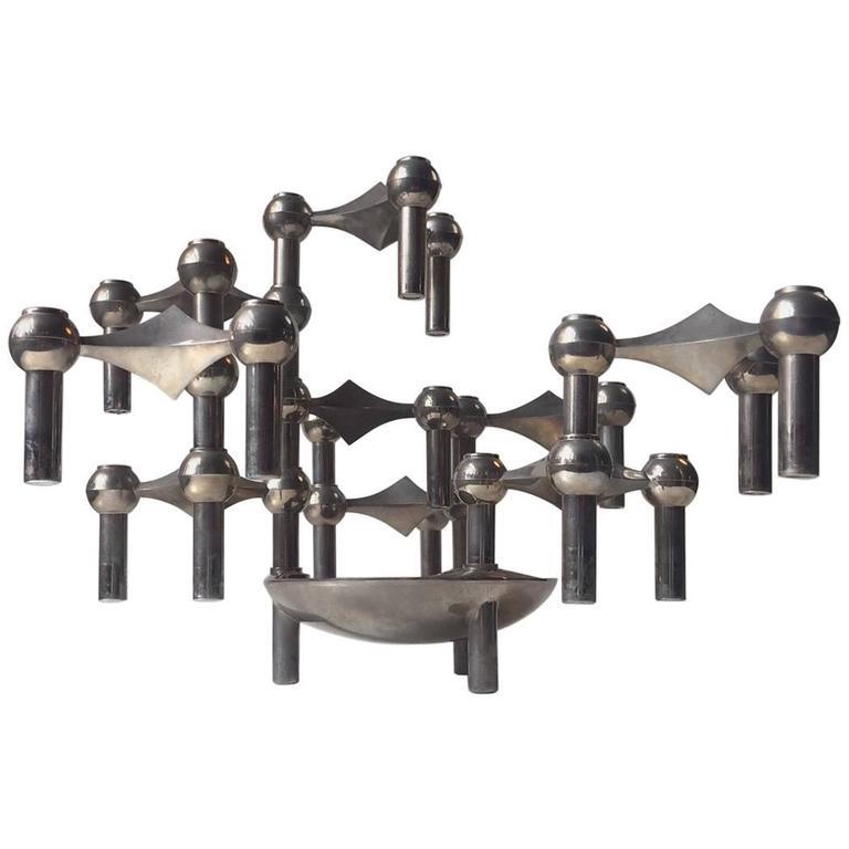 Modular 'Molecular' Candlestick Sculpture by Fritz Nagel and Caesar Stoffi