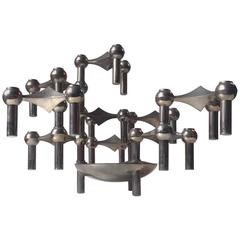 Modular 'Molecular' Candlestick Sculpture by Fritz Nagel and Caesar Stoffi