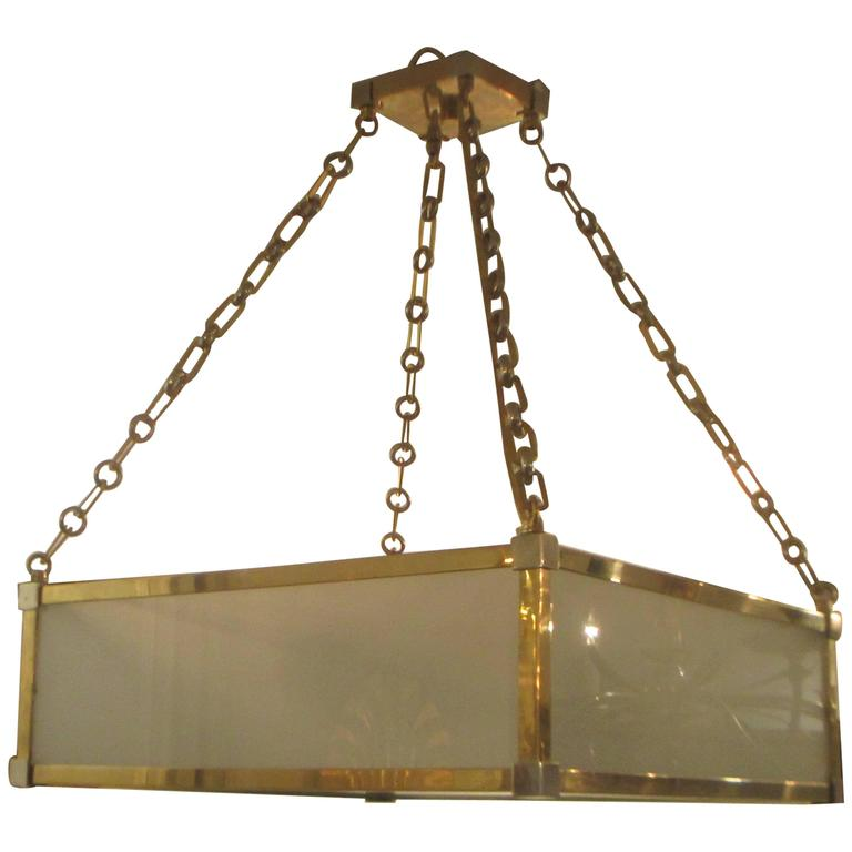 Custom Art Deco Style Nickel and Brass-Plated Pendant Fixture 1