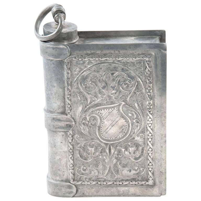 Faux-Book Pewter Flask with Renaissance-Style Engravings