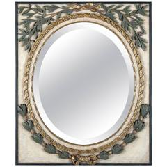 French Style Polychromed and Gilt Neoclassic Mirror