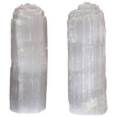 One Selenite Rock Crystal Quartz Table Lamp