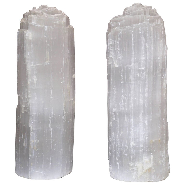 One Selenite Rock Crystal Quartz Table Lamp For Sale