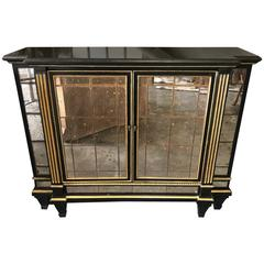 Neoclassical Ebonized and Gilt Mirrored Cabinet
