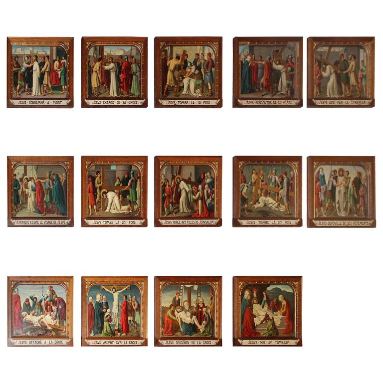 Late 19th Century French 14 Stations of the Cross Painted on Copper