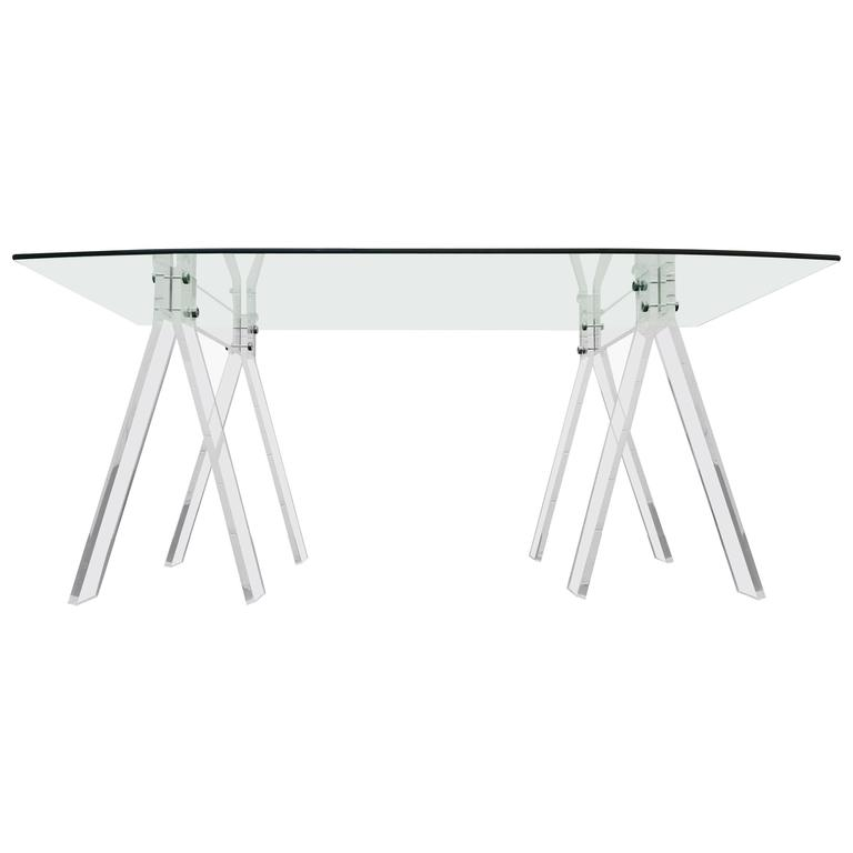 Mid Century Lucite And Chrome Saw Horse Desk Table With Boat Shaped Glass For
