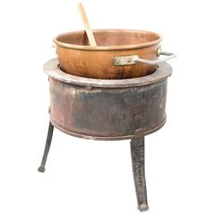 Large Candy-Making Copper Bowl and Gas Burner