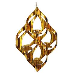 Mid-Century Brass Pendant Candelabra