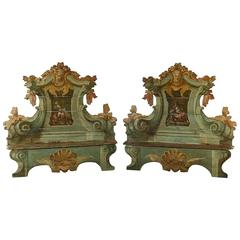 Pair of Shaped Solid Fir Lacquered and Decorated Benches Italy 17th Century