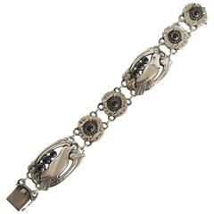 Georg Jensen Sterling Silver Bracelet #23 with Birds and Ten Synthetic Sapphires