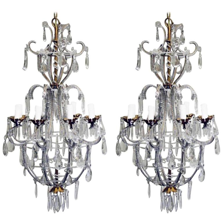 Mid-20th Century Pair of Florentine Chandeliers