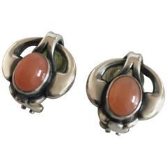 Georg Jensen Sterling Silver 2006 Annual Earrings with Orange Moonstone