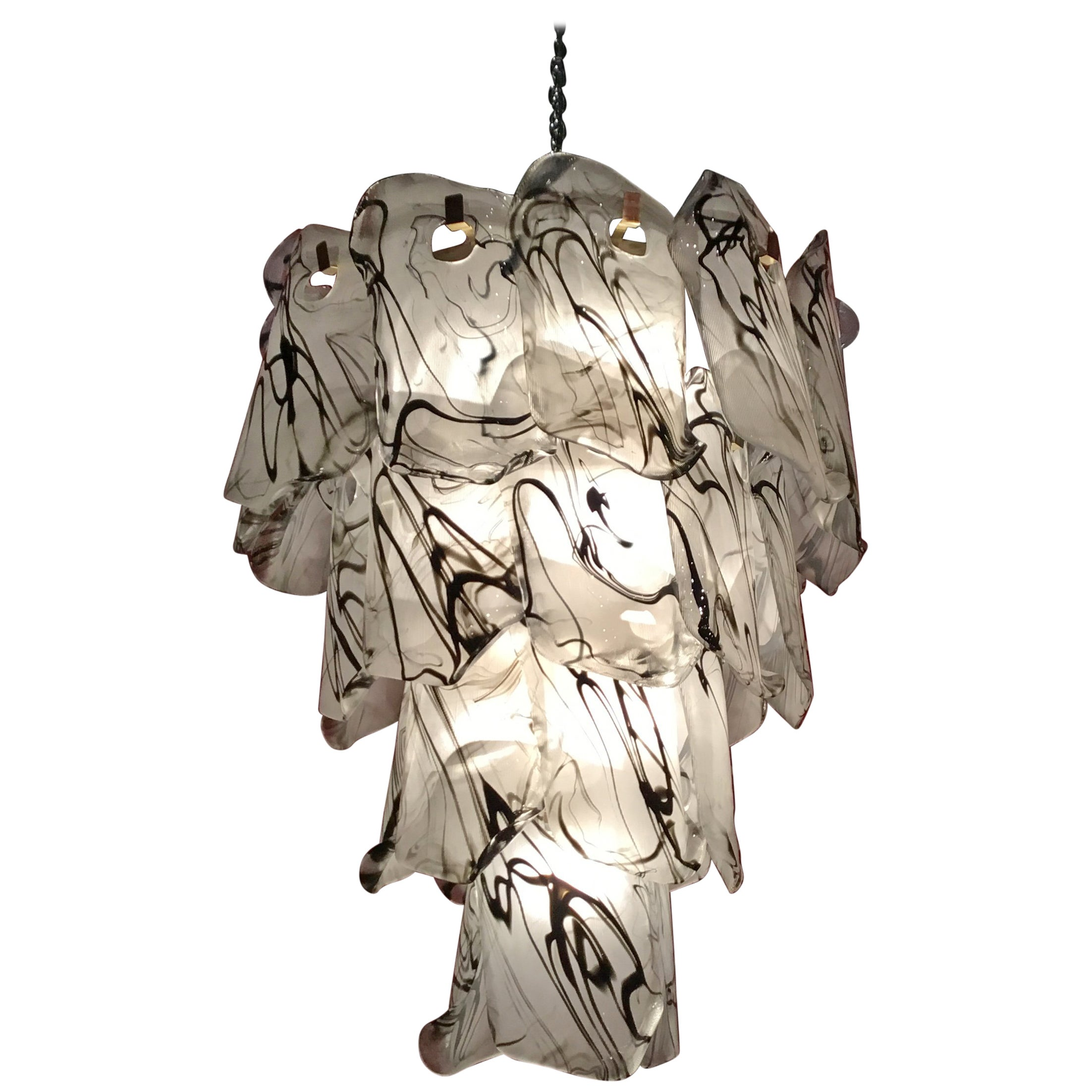 Black and white Murano Glass Chandelier Lamp, 1980s, Made in Italy