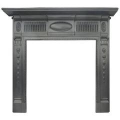 Antique Edwardian Cast Iron Fireplace Mantle