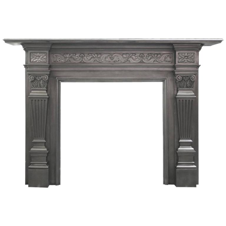 Antique Coalbrookdale Victorian Cast Iron Fireplace Surround For Sale