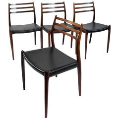 "Exclusive Danish Rosewood Chairs ""Model 78"" Designed by Niels Otto Møller, 1960"