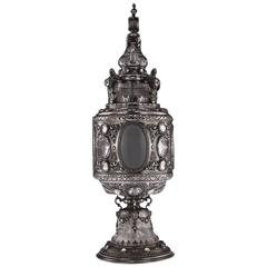 Antique Renaissance Style Solid Silver & Rock Crystal Cup and Cover, circa 1870