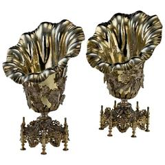 Antique Ottoman Empire Solid Silver Gilt Spoon Holders, circa 1880