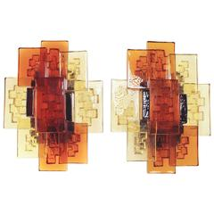 Pair of Danish Modern Layered Glass Wall Lights by Holm Sørensen