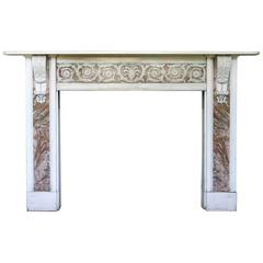 Large Antique 18th Century George III Statuary White Marble Fire Surround