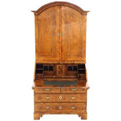 Danish 18th Century Walnut Bureau Cabinet, Baroque, Made circa 1750