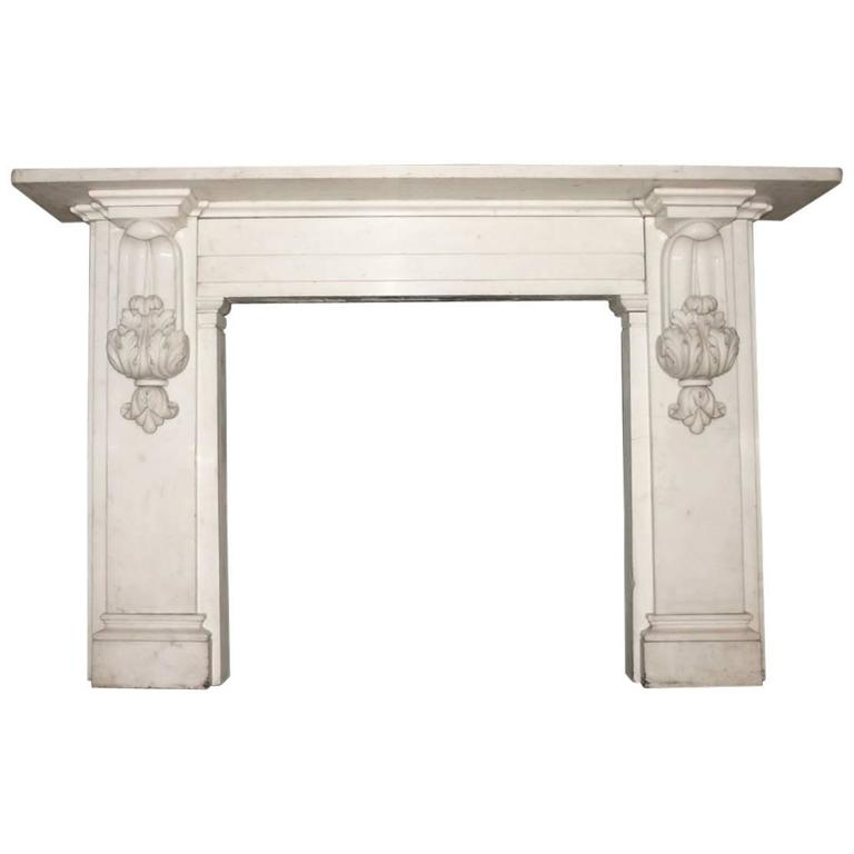 Antique 19th Century Victorian Carved Statuary White Marble Fire Surround For