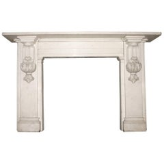 Antique 19th Century Victorian Carved Statuary White Marble Fire Surround