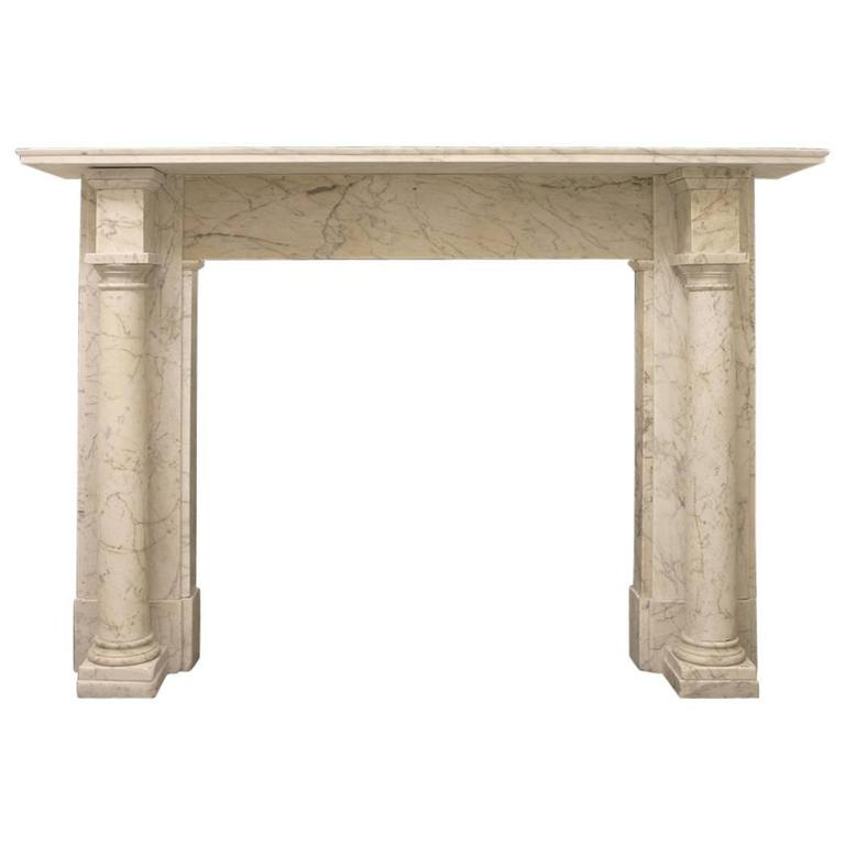 Antique Early Victorian Carrara Marble Fire Surround For Sale