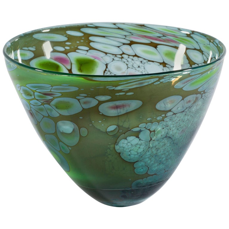 Unique Art Glass Bowl by Willem Heese, Executed by De Oude Horn 1