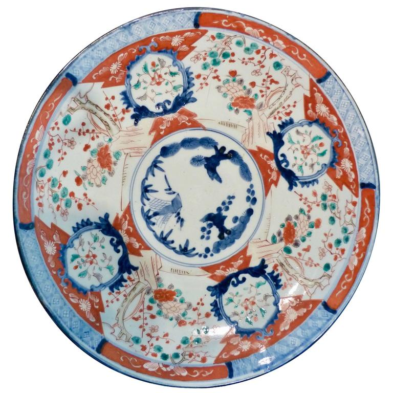 Large Polychrome Japanese Imari Charger, 18th-19th Century For Sale
