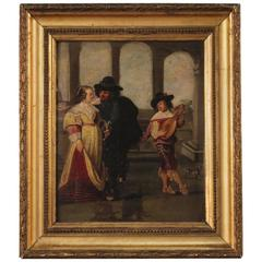 19th Century French Painting Gallant Scene With Musician