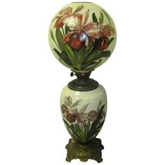 Monumental Hand-Painted Victorian Hurricane Lamp by Summit