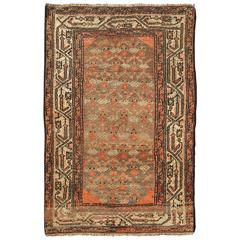 Antique Persian Hamadan Carpet with Tribal Designs in Taupe, Ivory and Orange