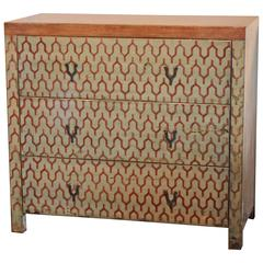 Geometric Design Three-Drawer Chest