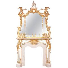 Chippendale 18th Century Style Fireplace Surround and Mirror
