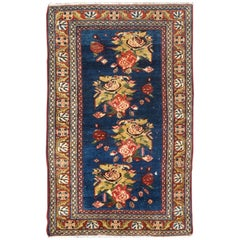 Antique Malayer Persian Carpet with Large Flowers on Deep Blue Field